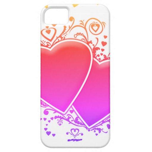 Dos corazones multicolores iPhone 5 protector