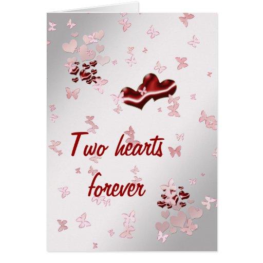 Dos corazones para siempre felicitación