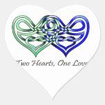 Dos corazones pegatina en forma de corazón