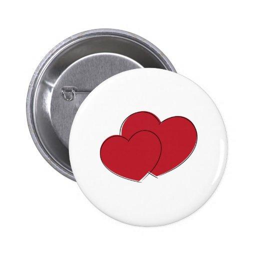 Dos corazones pin redondo 5 cm