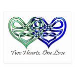 Dos corazones postal