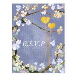 Dos corazones: Postales de RSVP del boda