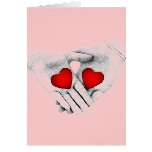 Dos corazones que baten como uno tarjeta de felicitación