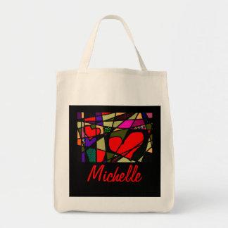 Dos corazones rojos, arte enrrollado colorido de bolsa tela para la compra