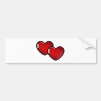 Dos corazones rojos etiqueta de parachoque