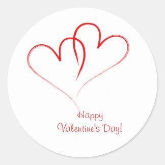 ¡Dos corazones rojos - el día de San Valentín Pegatina Redonda