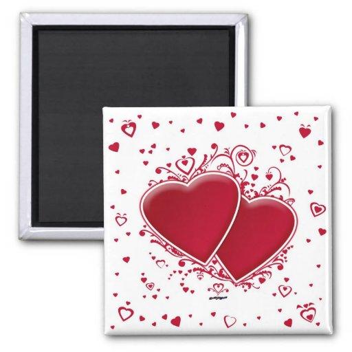Dos corazones rojos imán para frigorifico