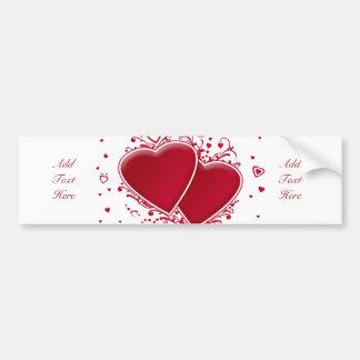 Dos corazones rojos para el el día de San Valentín Pegatina Para Auto
