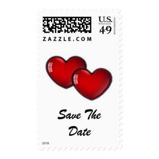 Dos corazones rojos sello