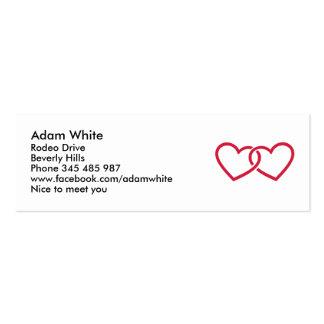 Dos corazones rojos tarjeta de negocio