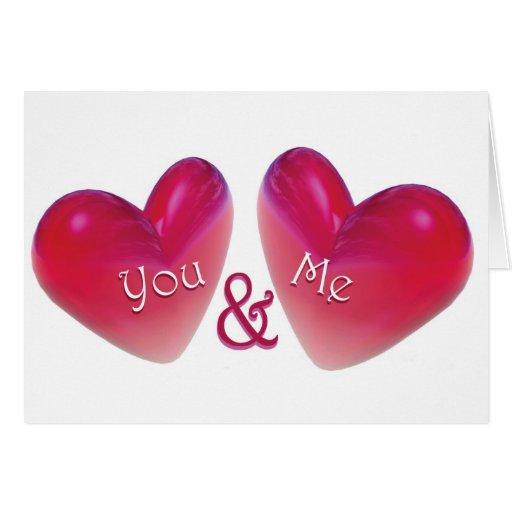 Dos corazones románticos tarjeta de felicitación