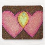 Dos corazones rosados Mousepad Tapete De Ratones
