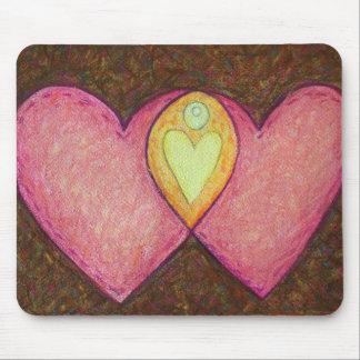 Dos corazones rosados Mousepad Tapete De Raton