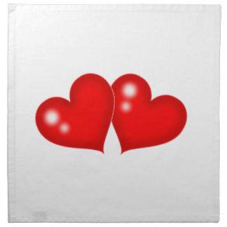 Dos corazones servilletas imprimidas