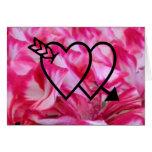 Dos corazones tarjeta pequeña