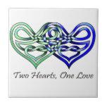 Dos corazones tejas  cerámicas