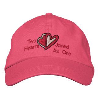 Dos corazones unidos como un gorra bordado gorras de beisbol bordadas