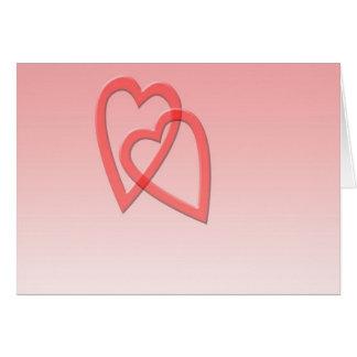 Dos corazones unidos como uno tarjeta de felicitación