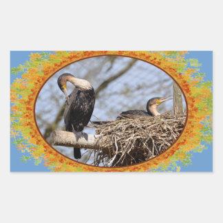 Dos cormoranes del gret en jerarquía en el marco rectangular pegatina