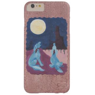 Dos coyotes azules que gritan en la luna funda para iPhone 6 plus barely there