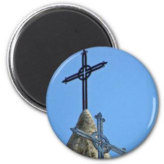 Dos cruces imán redondo 5 cm