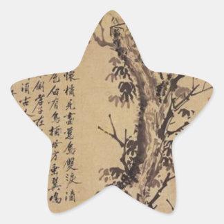 Dos cuervos en un árbol de Shen Zhou Pegatina En Forma De Estrella