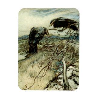 Dos cuervos imanes flexibles