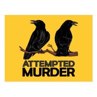 Dos cuervos intentos de asesinato tarjetas postales