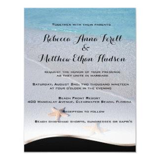 Dos de boda de playa de las estrellas de mar del invitación 10,8 x 13,9 cm