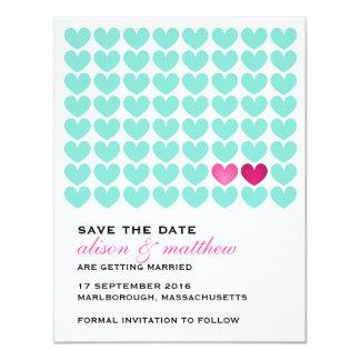 """Dos de corazones ahorran la fecha invitación 4.25"""" x 5.5"""""""