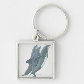 Dos delfínes de Bottlenosed Llavero Cuadrado Plateado