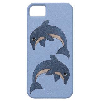 Dos delfínes de salto blancos azul marino lindos funda para iPhone SE/5/5s