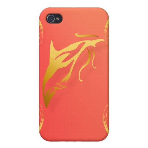 Dos delfínes del oro iPhone 4 carcasa