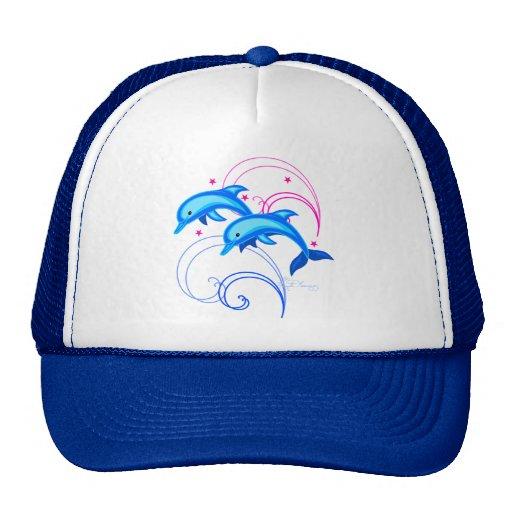 Dos delfínes del salto gorras de camionero