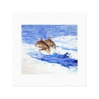 Dos delfínes en el mar abierto impresiones en lienzo estiradas