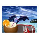Dos delfínes en verano tarjetas postales