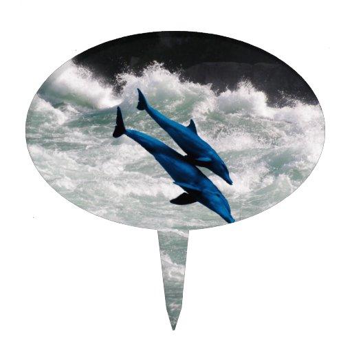 Dos delfínes que nadan en el mar decoraciones para tartas