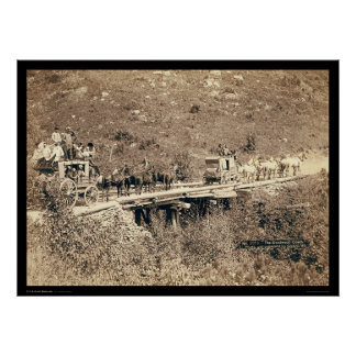 Dos diligencias que pasan Black Hills WY 1889 Póster