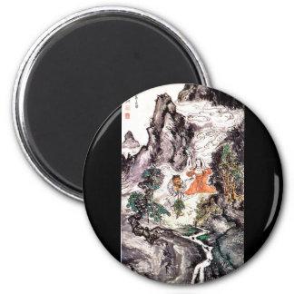 Dos divinidades que bailan la pintura del japonés  imán redondo 5 cm