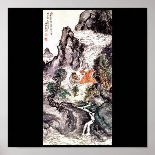 Dos divinidades que bailan la pintura del japonés  póster