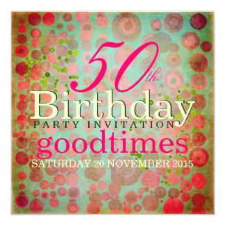 Dos Dots Pink   Retro Bubble 50th Birthday Party Personalized Invitation