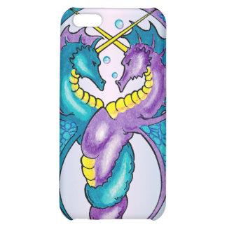Dos dragones del Seahorse bosquejados en azul y pú