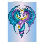 Dos dragones del Seahorse bosquejados en azul y pú Tarjetas