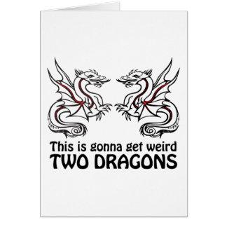 Dos dragones tarjeta de felicitación