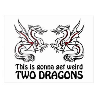 Dos dragones tarjeta postal