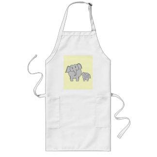 Dos elefantes. Adulto e historieta lindos del bebé Delantal