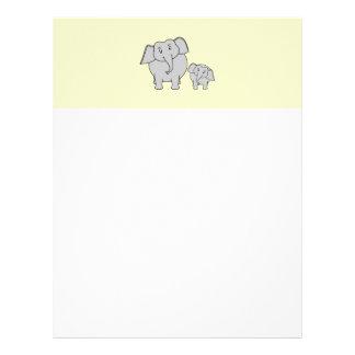 Dos elefantes. Adulto e historieta lindos del bebé Plantillas De Membrete