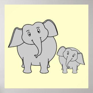 Dos elefantes. Adulto e historieta lindos del bebé Póster