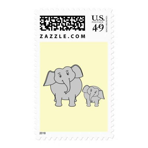Dos elefantes. Adulto e historieta lindos del bebé Sello