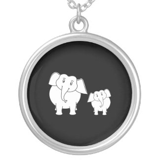 Dos elefantes blancos lindos en negro. Historieta Colgante Redondo